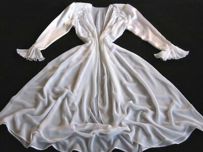 Womens Jonquil Robe Chiffon S/M Vintage Long Sheer White Satin Sleeves Bridal
