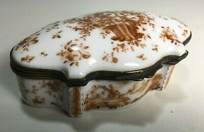 Antique 19th Century Sceaux French Faience Porcelain Hinged Dresser Trinket Box