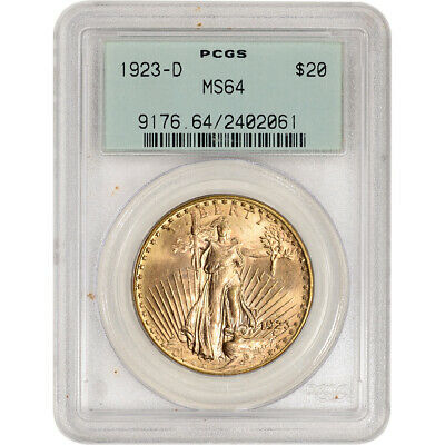 1923-D US Gold $20 Saint-Gaudens Double Eagle - PCGS MS64