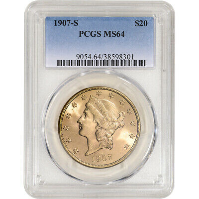 1907-S US Gold $20 Liberty Head Double Eagle - PCGS MS64