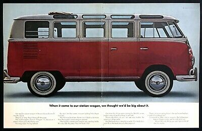 1964 VW Volkswagen Station Wagon Bus photo It Holds More 2-page vintage print ad