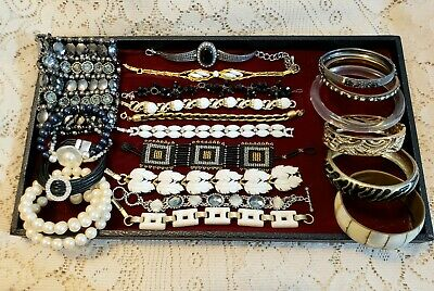20 Piece Vintage and Modern B&W Mixed Style Bracelet Lot - Gale, Lisner