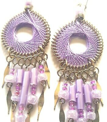 "BEAUTIFUL PURPLE 36/"" DREAM CATCHER feather beads handmade LARGE dreamcatcher art"
