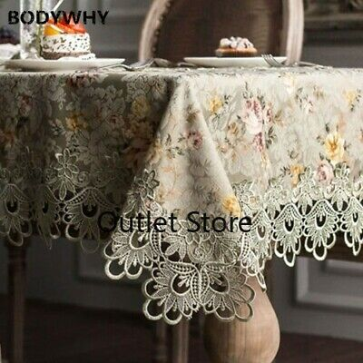 Embroidered Lace Crochet Tablecloth European Floral Table Decoration Cover