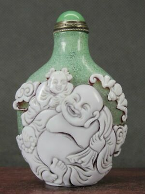 Chinese Two Boy Buddhism Carved Peking Overlay Glass Snuff Bottle
