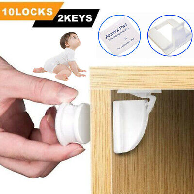 12XInvisible Magnetic Baby Child Pet Proof Cupboard Door Drawer Safety LockCatch