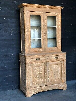 French Original Scraped Paint Deux Corps Bookcase Cabinet Cupboard Circa 1830