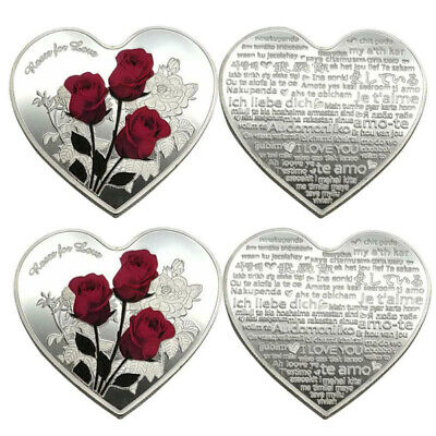 Collection Commemorative Heart Shape Coin Souvenir Gifts Valentine rose Love