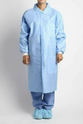 Surgical Gown with front push button 3 Pockets Lab coat style - Ceil Blue Sz XL