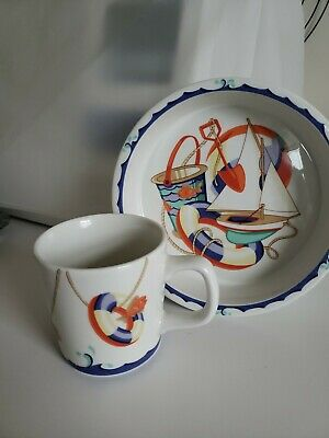 Retired TIFFANY & Co 2 piece nautical seashore childrens baby nursery bowl & mug