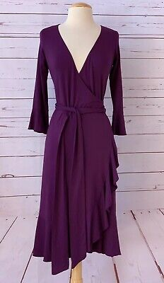 ISABELLA OLIVER Womens Size 1 Or US 4 S Maternity Wrap Dress Ruffle Trim Purple