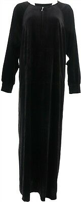 Joan Rivers Length Round Neck Velour Lounger Black L NEW A344540