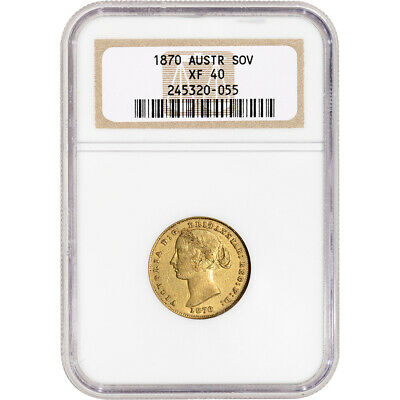 1870 Australia Gold Sovereign - NGC XF40