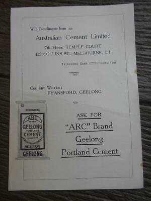 C 1920 's Australian Cement Limited ARC brand Geelong Portland Fyansford flyer
