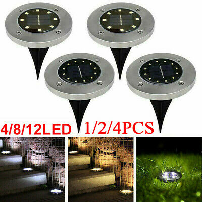 4/8/12 LED Solar Power Decking Lights Ground Floor Outdoor Garden Lawn Path Lamp