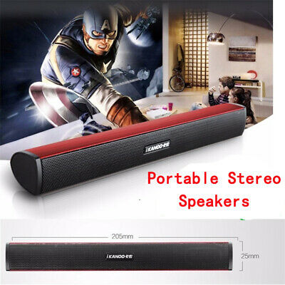 Laptop USB 2 Channel Portable Stereo Speakers Built-in Sound Card Bar Black UK