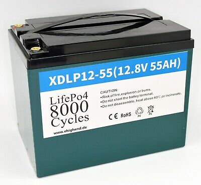 8000Cycles LifePO4 Lithium Batterie mit BMS in Standardgrößen 55Ah 12V 704Wh