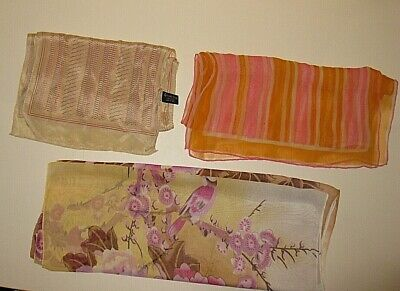 LOT of 3 RECTANGULAR VERA SPECIALITY HOUSE SILK WOMENS NECK SCARF