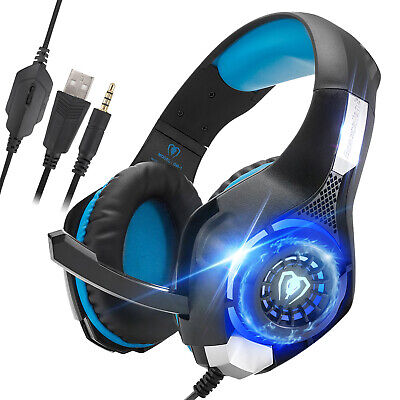 for PS4 Xbox Nintendo Switch PC Stereo 3.5mm Wired Gaming Headset [Black/Blue]