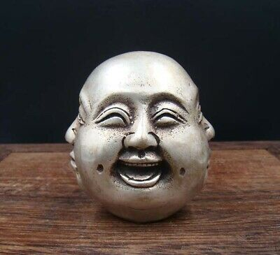 60mm Handmade Carving Statue Copper Silver 4 Face expression Buddha Deco Art