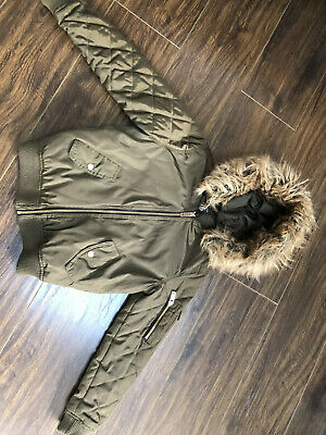 Girl's New Look Green Bomber Style Jacket With Detachable Hood Age 9 Years
