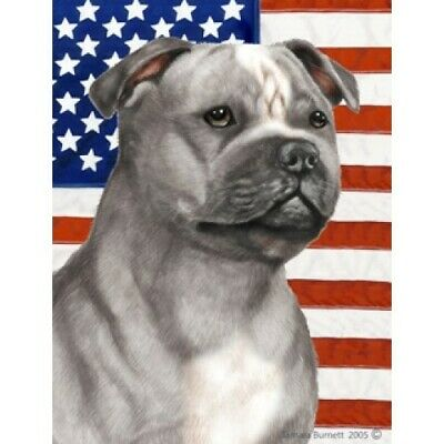 Patriotic (D2) House Flag - Blue and White Staffordshire Bull Terrier 32248