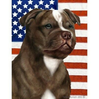 Patriotic (D2) House Flag - Chocolate Staffordshire Bull Terrier 32244