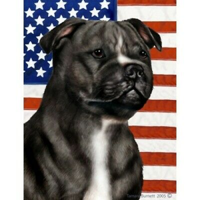 Patriotic (D2) House Flag - Black and White Staffordshire Bull Terrier 32231