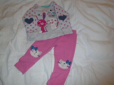 Cute girls pink and grey leggings and long sleeve top set, PRIMARK, 9-12 months