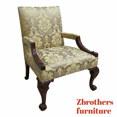 Oversized Hickory Chair Co. Chippendale Ball Claw Living Room Arm Lounge Chair B
