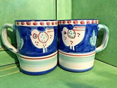 Solimene Campagna Chicken Blue Mugs Cups by Vietri (Italy) Set of 2