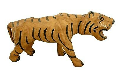 "Leather Tiger Figurine - Made in India - 13"" x 7"""