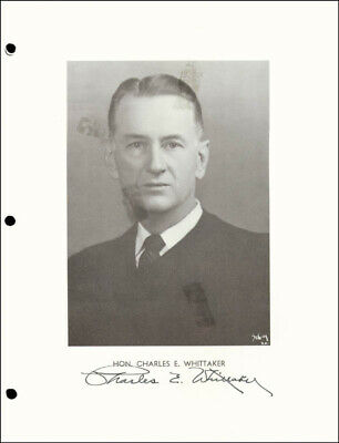 Charles E. Whittaker - Photograph Signed