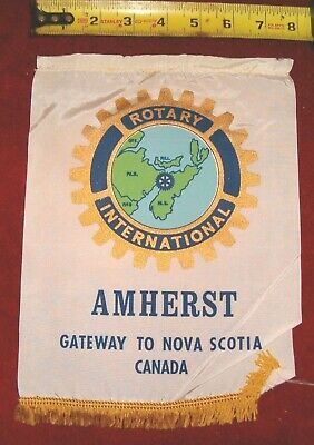 VINTAGE Rotary International Club wall banner flag     AMHERST    NOVA SCOTIA