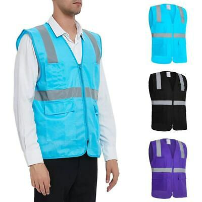 GOGO Zip High Visibility Safety Vest with 5 Pockets & Reflective Tape, Class 2