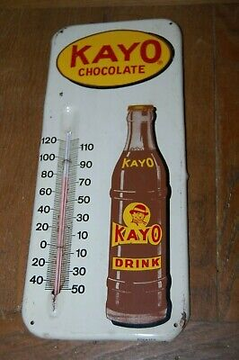"vintage tin KAYO Chocolate Drink Thermometer 13.5"" advertising not soda sign"