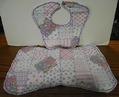Baby Bib And 1 Burp Towel Handmade Set Of 2