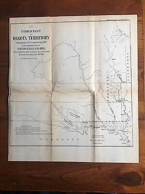 Dakota Territory Ceded Part 1863 Map G. D. Hill Surveyor General Indian Reserves