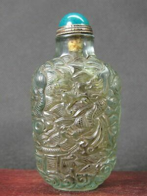 Chinese Two Dragon On Water Carved Peking Overlay Glass Snuff Bottle