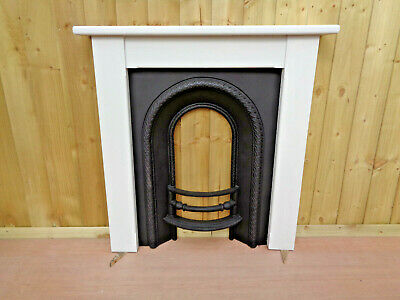 Victorian Cast Iron Fireplace Insert & Painted Surround With Farrow & Ball paint