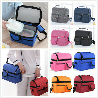 Insulated Lunch Bag Picnic Cool Bag Food Storage Lunchbox With Shoulder Strap
