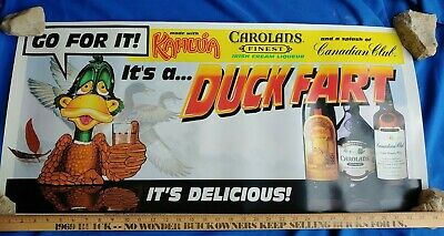 RARE Duck Fart Poster Advertising Sign Banner VTG Hunter Bar Kahlua-Carolans-