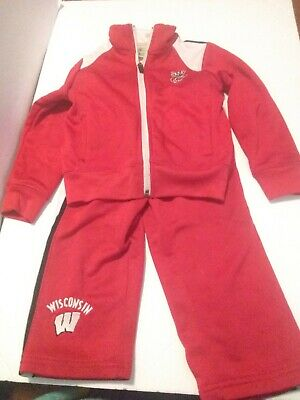 BOYS/GIRLS Wisconsin Badgers Track Suit Jacket AND Pant SET 2T RED/BLACK/WHITE