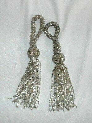 Tassels  Beaded -  Silver - Pkt 2