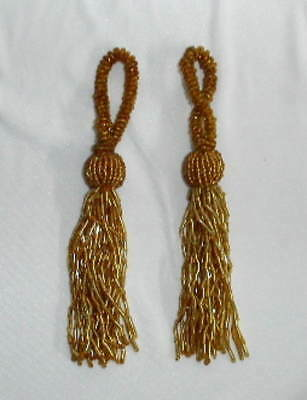 Tassels  Beaded -  Gold - Pkt 2