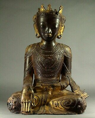 ^Antique 1700's Southeast Asia JAMBUPATI Crowned Buddha Carved Gilt Lacquer Wood