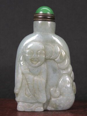 Chinese Boy Toad Carved Jadeite Jade Snuff Bottle