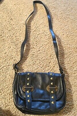 Arizona Jean Co. Small Black Leather Purse Long Strap with Buckles