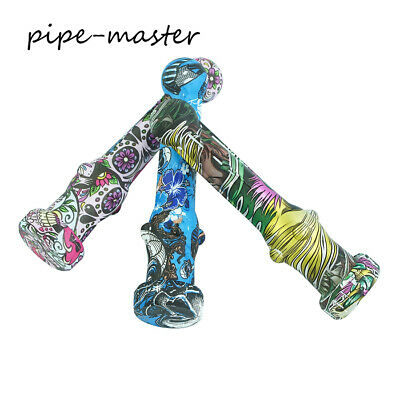 Smoking Hand Pipe Tobacco + Matal Straw + 6.6'' Silicone Bamboo Joint Shape Kit