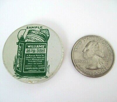 Vintage Williams Anti Pain Ointment Metal Empty Sample Medicine Tin